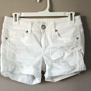 AE Super Stretch Destroyed White Shorts